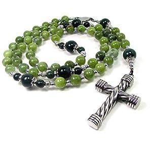 Kanadische hellgrüne Jade Rosenkranz, 5 Decaden Rosenkranz, Herren Damen Rosenkranz Halskette, Herren Edelstein…