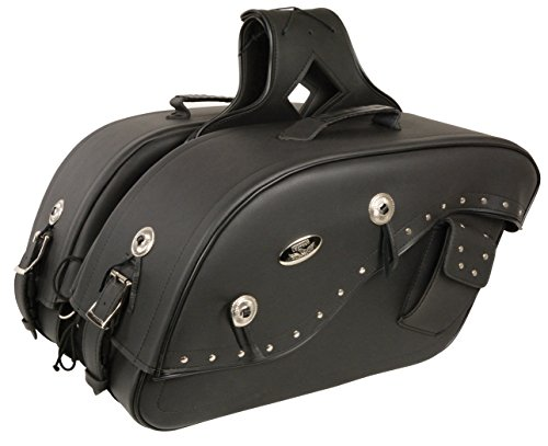 "Medium Studded Cruiser Style Throw Over Saddlebag w/Gun Holster Fits Most All Harley Davidson Bikes -""See Picture For How To Size Details"""