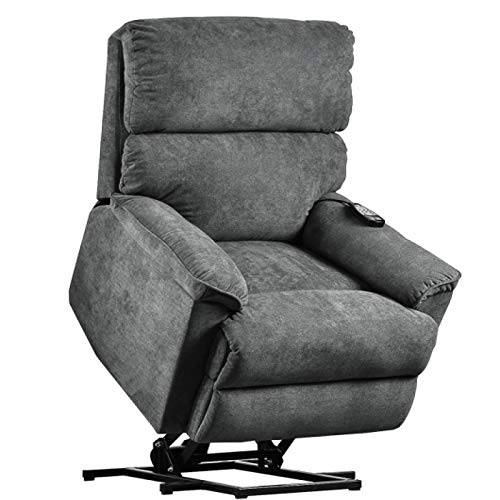 Multifunctional Living Room Massage Chair Electric Lift Chair with Massage Function Soft Fabric Interior Recliner Gray