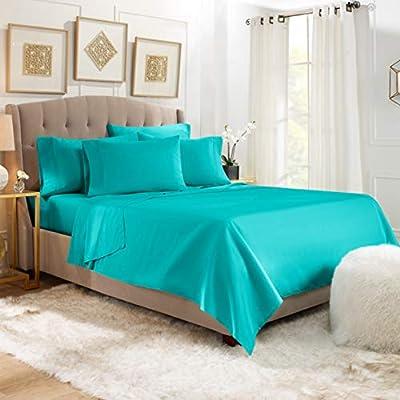 6 Piece Queen Sheets - Bed Sheets Queen Size – Bed Sheet Set Queen Size - 6 PC Sheets - Deep Pocket Queen Sheets Microfiber Queen Bedding Sets - Queen - Teal Blue