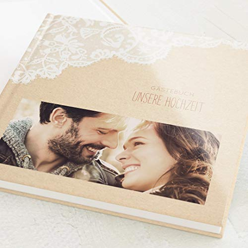 sendmoments Hochzeit Gästebuch Spitzentraum, personalisiert mit Wunschbild, hochwertiges Hardcover-Buch, Quadratisch, mit 32 leeren Seiten oder mehr
