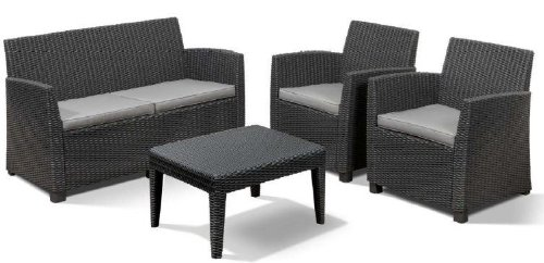 Allibert 212404 Lounge Set Corona  (2 Sessel, 1 Sofa, 1 Tisch), Rattanoptik, Kunststoff, graphit
