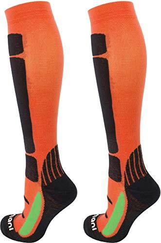 normani Coolmax Sport Kompressionsstrümpfe mit Frotteesohle & anatomisch angeordneten Polsterzonen Farbe Orange/Schwarz Größe 39/42
