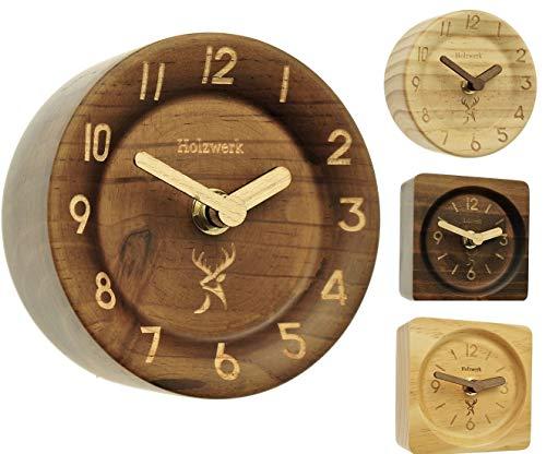 Holzwerk Germany ® Analog Retro Holz Tisch Uhr aus handgefertigtem Natur Holz Ahorn Braun geräuschlose Tischuhr Uhr Rund Eckig Holzuhr Stand-Uhr ohne Ticken mit Holzzeiger Handgefertigt