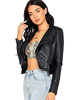 SheIn Women's Zipper Front Casual PU Leather Cropped Jacket Long Sleeve Bolero Black# Large from