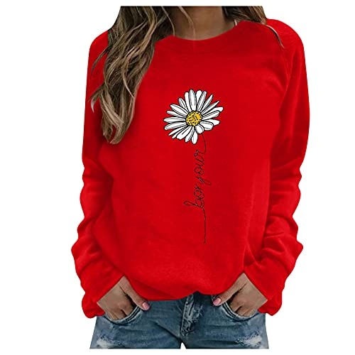 Women's Stitching Print Pullover Tops Long Sleeve Sweatshirt Casual Blouse T-Shirts Slim Fit
