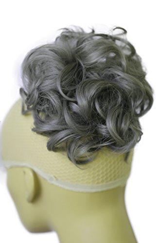 PRETTYSHOP XL Haarteil Haargummi Hochsteckfrisuren Brautfrisuren Voluminös Gelockt Unordentlich Dutt Aschgrau G27E