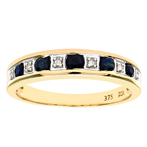 Naava Women's Eternity Ring, 9 ct Yellow Gold Diamond and Sapphire Ring, Channel Set