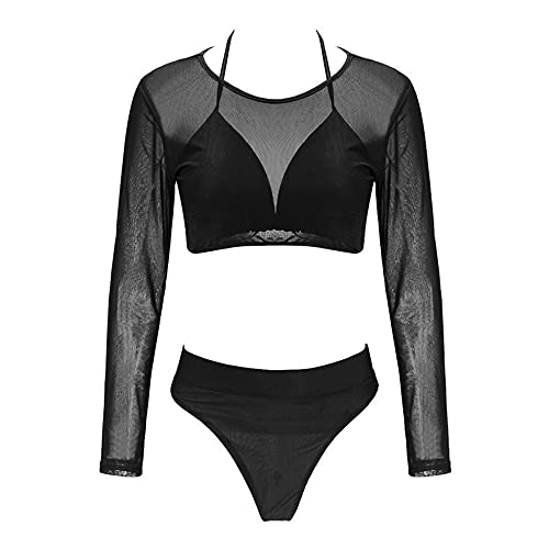 JieDianKeJi Womens 3 Pieces Swimsuit with Long Sleeve Mesh Shirt CoverupSexy bikini swimsuit for women for beach swimming sexy and plus size