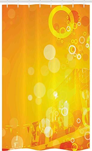 ABAKUHAUS Orange Schmaler Duschvorhang, Kreise Punkte Sunburst, Badezimmer Deko Set aus Stoff mit Haken, 120 x 180 cm, Orange Gelb Weiß