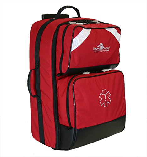 Iron Duck 32475-R Ultra ALS Wheeled Oxygen Bag with Rugged Wheels and a Retractable Luggage Handle, Nylon, Red