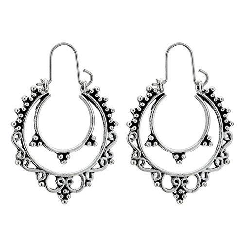 Ruby569y - Pendientes de aro para mujer, diseño geométrico, hueco, estilo bohemio, para mujer, joyería de moda, accesorio de regalo – 9028, plata