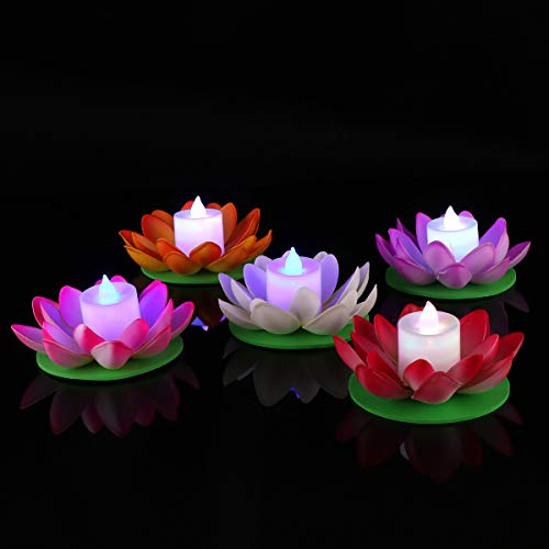 LEDMOMO LED Floating Lotus Lantern Wishing Water Lily Artificial Candle Flower Lanterns Pool Decor for Festival Party (White+Purple+Orange+Pink+Red)