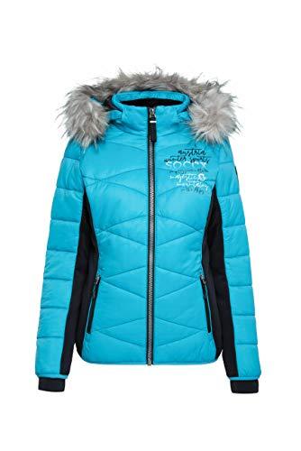 SOCCX Damen Winterjacke im Materialmix mit Kapuze