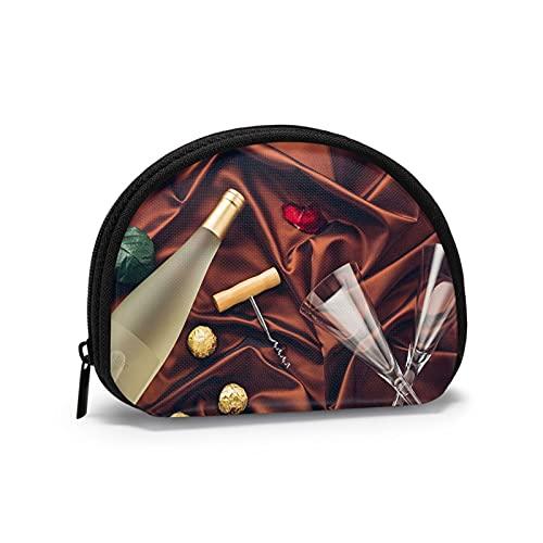 Monederos de chocolate y vino bolsas para monedero niños lindo bolso lápiz labial titular portátil mini cambio monedero para mujeres niñas 10.7 x 3.5 pulgadas