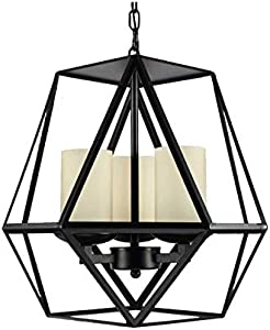 Chandeliercandle And Metal Shade Modern Lamp,40 * 40 * 42 Cm,4 * E14 Black