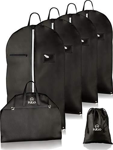 FiRiO® 4 x Kleidersack Anzug Schutzhülle mit Tragegriff | Bonus SCHUHBEUTEL + E-Book | Anzugtasche Kleidertasche Business - Perfekt für Reise & Aufbewahrung | Premium Kleidersäcke mit Reißverschluss