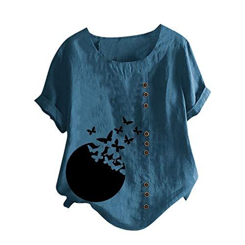 Hffan Damen Blusen Mode Langarmshirt Lose Casual Sweatshirt Elegant Vintage Pullover Leinen Oberteile Oversize Tops