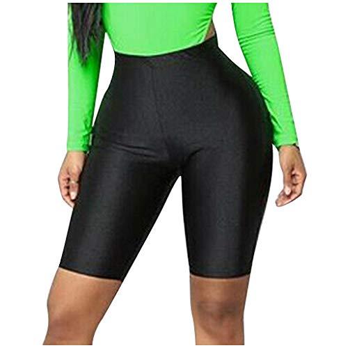 YANFANG Pantalones Ajustados Moda para Mujer,Bicicleta Yoga Pantalones Cortos de Cintura Alta elásticos Leggings Deportes Pantalones Casuales,, 5XL,Black