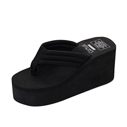 PAOLIAN Sandalias y Chanclas para Mujer Verano 2018 Sólido Zapatos de Cuña Plataforma Playa Chanclas de Flip-Flops Cómodos Open Toe Casual Suela Blanda Sandalias Mujer EVA Moda Fiesta (39, Negro)