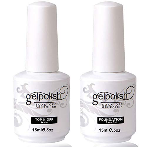 Kanorine Top Coat & Base Coat Gel Nail Polish Set Soak-Off UV LED Drying Varnish Foundation & no wipe top coat 15ml x 2