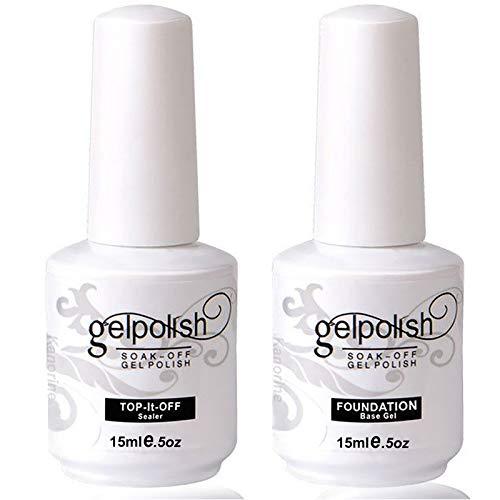 Kanorine™ Top Coat & Base Coat Gel Nail Polish Set Soak-Off UV LED Drying Varnish Foundation & no wipe top coat 15ml x 2
