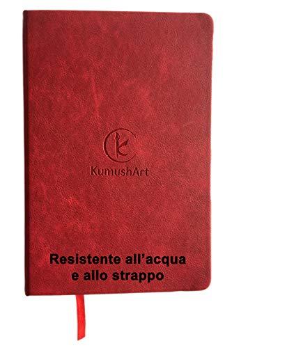 Cuaderno de campo de papel piedra. Resistente al agua y las roturas. Tapa dura A5, rojo. Papel blanco, 100 páginas. Elástico, marcapáginas y manga interior.