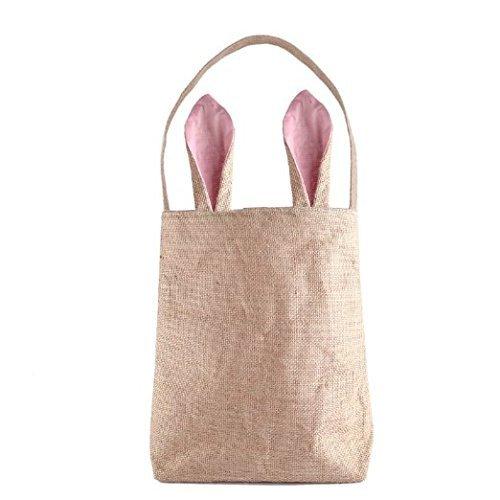 Dngdom Pasqua Coniglietto Borse Doppio Strato di Panno di iuta Materiale Bunny Pasqua Borsa Tote, Blu