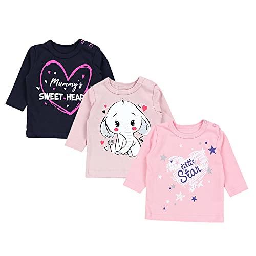 TupTam Unisex Baby Langarmshirt mit Spruch Aufdruck 3er Set, Farbe: Mädchen 2, Größe: 74
