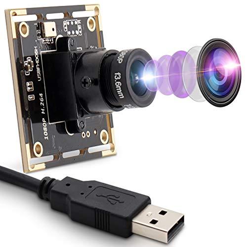 2MP Webcam 1080P USB-Kameramodul mit IMX322-Sensor Webkamera 0.01Lux Mini-Kameramodul mit niedriger Beleuchtung und H.264-Format Wiedergabe und Stecker USB 2.0 OTG-Kamera für Videokonferenzen
