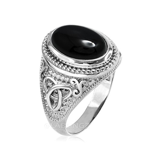 Sterling Silver Celtic Triquetra Band Mens Black Onyx Statement Ring (13)
