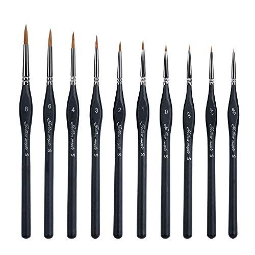 RUGF Detail Brush Miniautre Brush-10 Pcs Best Professional Detail Paint Brush, Miniature Brushes Will Keep A Fine Point and Spring, for Watercolor, Oil, Acrylic, Nail Art Models,TwoPacks