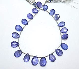 Gems-World Jewelry 1 Strand Tanzanite Pear Shape Beads - Tanzanite Faceted Briolette, Tanzanite Briolette, 10x7.5-14x10 mm, 8.5