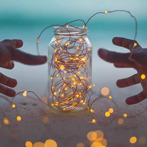 Outdoor Solar String Lights, 2 Pack 33Feet 100 Led Solar Powered Fairy Lights with 8 Lighting Modes Waterproof Decoration Copper Wire Lights for Patio Yard Trees Christmas Wedding Party (Warm White)