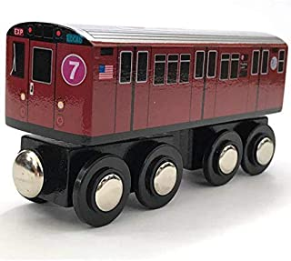Munipals Wooden MP01-11RB NYC MTA Subway 7 Train Car Flushing Local Redbird R33ML
