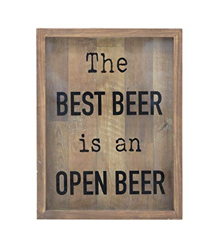 Parisloft Decorative Wood Framed Shadow Box Sign - Best Beer is an Open Beer (Brown)