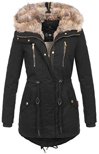 Navahoo warme Damen Winter Jacke lang Teddyfell Winterjacke Parka Mantel B648 [B648-Diamond-Schwarz-Gr.XS]