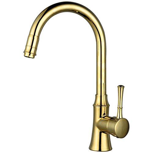 Válvula mezcladora El mezclador moderno del fregadero de la cocina del canalón del cromo grifos el golpecito del fregadero del mezclador de cobre amarillo sólido, grifo del lavabo ( Color : Oro )