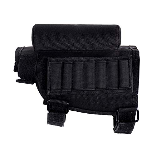 EVNNO Rifle Ammo Holder,Rifle Buttstock, Adjustable Tactical Cheek Rest Pad Ammo Pouch with 7 Shells Holder for .308 or. 300 Winmag Hunting Shooting.