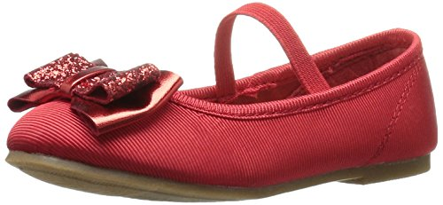 Carter's Girls' Carte's Bigbow3 Ballet Flat, RED, 7 M US Toddler