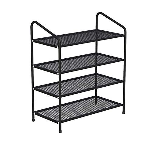 Zapatero pequeño Los estantes de almacenamiento de metales del estante de zapatos de 4 niveles sostienen hasta 12 ~ 15 pares de zapatos para el vestíbulo de la entrada de la sala de estar y el guardar