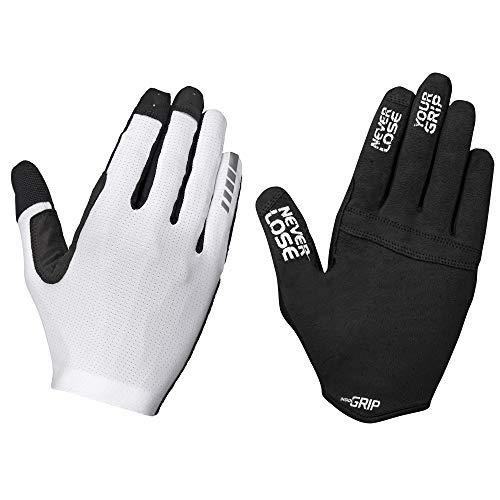 GripGrab Aerolite InsideGrip Full-Finger Professional MTB Cycling Gloves Unpadded Anti-Slip Mountain-Bike Off-Road Guantes Largos Ciclismo, Unisex-Adult, Blanco, S