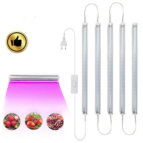 LED Pflanzenlicht Röhre mit 24 LEDs T5 LED Grow Lampe Leiste Vollspektrum 5PCS Pflanzenlampe 11,8 Zoll Wachstumslichtstreifen für den Innenbereich Pflanzengemüse Flower Stecker & Abspielen