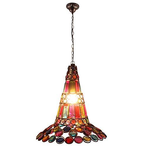 Lámpara colgante de sombrero retro marroquí Lámpara de techo estilo árabe Tiffany Pantalla de acrílico hecha a mano Arte de hierro tallado Lámpara colgante Lámparas europea Easy Fit Base E27