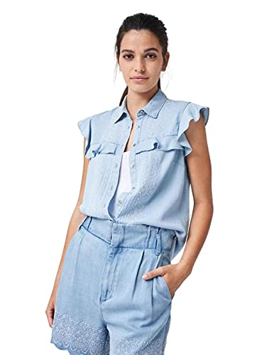 Salsa Jeans Camisa con Bordado Azul M