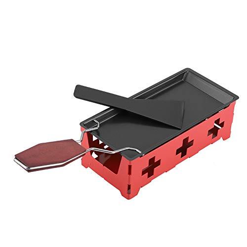 Raclette de Queso, PortáTil Antiadherente Parrilla de Mesa Raclette, Plegable Raclette a la Luz de las Velas Fundidor de Queso Set Mini Raclette con EspáTula para la Cocina Casera