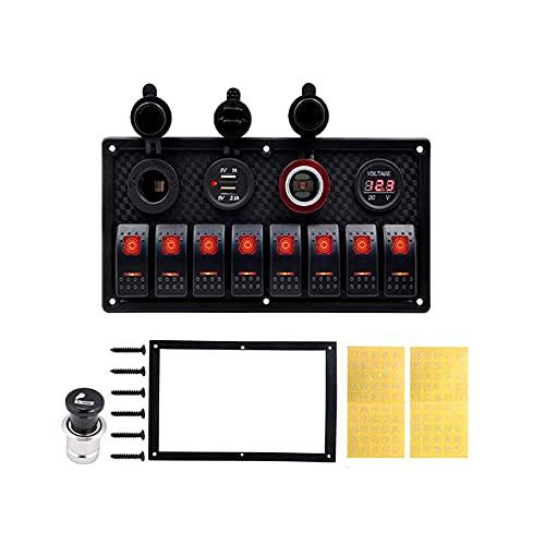 8 panel de interruptor de rockero de pandillas Interruptor de circuito de sobrecarga Voltímetro protegido 12V 24V DC USB Cargador Puerto RV Barco de coche Marine Azul L & ED Piezas de botones ligeros