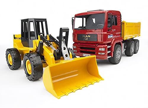 BRUDER - 02752 - Camion benne MAN TGA rouge avec chargeur articulé FR 130 jaune