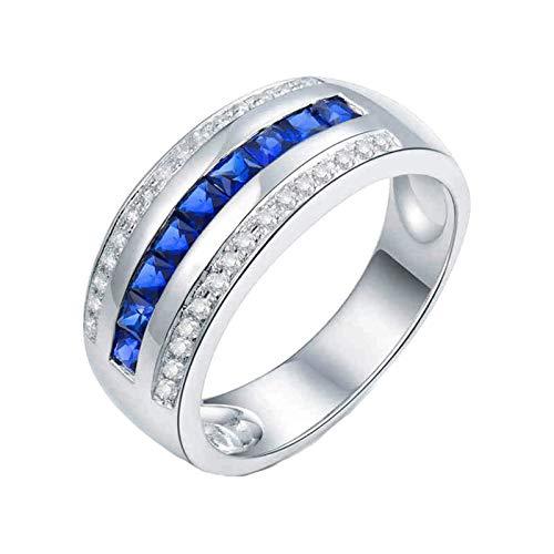 Daesar Anillos de Oro Blanco Para Hombre 18K,Redondo con Cuadrado Zafiro Azul 1ct Diamante 0.24ct,Plata Azul Talla 18,5