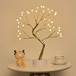 EXTRAFEIN Artificial Bonsai Tree Lights – Table Decor Pearl Tree Fairy Lamp, Battery/USB Operated, Lit Tree Centerpieces for Jewelry Holder,Christmas Festival Decoraction,Mini Night Light